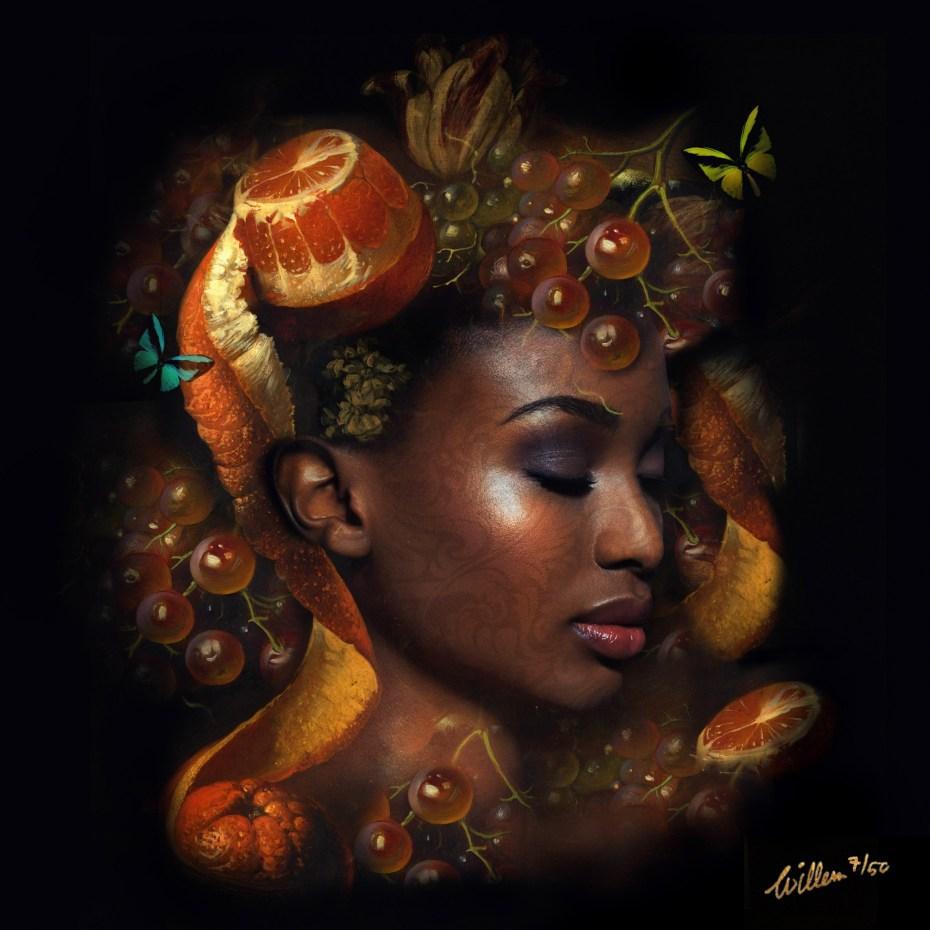 portrait with oranges and grapes 100x100cm