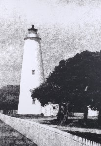 """The Ocracoke Island Lighthouse has been a landmark of the NC Outer Banks since 1823. B&W handcrafted alternative process photograph (original silver emulsion print from paper negative). """"Ocracoke Island Light"""" © WJ Eastman Offered by GALLERY5X7"""