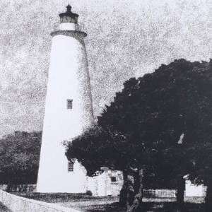 """The Ocracoke Island Lighthouse has been a landmark of the NC Outer Banks since 1823. B&W handcrafted alternative process photograph (original silver emulsion print from paper negative). """"Ocracoke Island Light"""" © WJ Eastman. Offered by GALLERY5X7."""