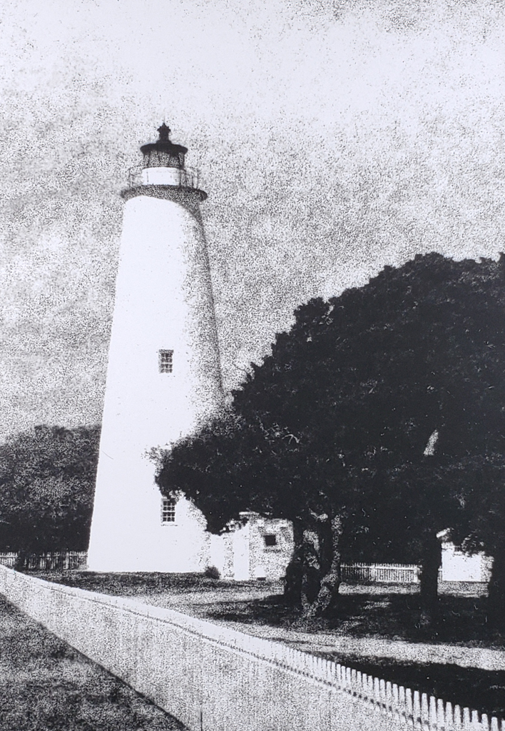 The Ocracoke Island Lighthouse has been a landmark of the NC Outer Banks since 1823. B&W handcrafted alternative process photograph (original silver emulsion print from paper negative). © WJ Eastman Represented by GALLERY5X7