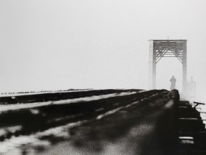 """Train trestle keeper on his morning watch, shrouded in fog. B&W handcrafted alternative process photograph (original silver emulsion print from paper negative). """"Trestle Guardian"""" © WJ Eastman. Offered by GALLERY5X7."""