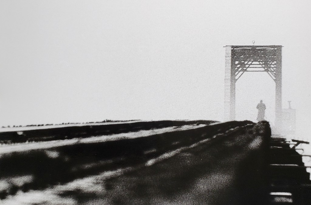 Train trestle keeper on his morning watch, shrouded in fog. B&W handcrafted alternative process photograph (original silver emulsion print from paper negative). © WJ Eastman Offered by GALLERY5X7.