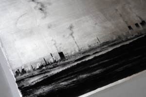 """One misty morning in the north of Bohemia. View over the open-cast mine. Approx. 20"""" x""""Industrial Morning (detail 2)"""" © David Heger. Offered by GALLERY5X7. 20"""" handcrafted alternative process print (antracotypia (resinotype) on white plastic board; black pigment over real silver; wood frame, no glass). Edition #1/10. Signed original print offered by GALLERY5X7 at $500."""
