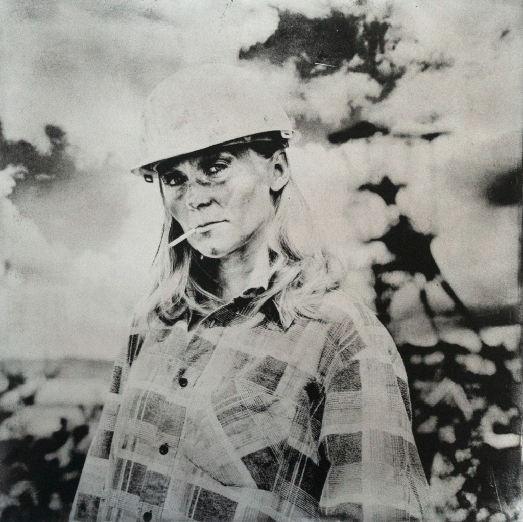 """Tribute to a local miner. Approx. 20"""" x 20"""" handcrafted alternative process print (antracotypia (resinotype) on white plastic board; black pigment; wood frame, no glass). Edition #1/10. Signed original print offered by GALLERY5X7 at $500."""