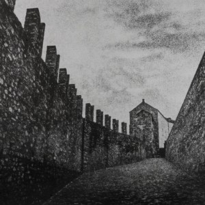 """""""Castlegrande, Bellinzona Ticino"""" © David Aimone. Approx. 10"""" x 14"""" handcrafted gum oil print on Arches Platine paper. Signed single edition print offered by GALLERY5X7 at $375."""