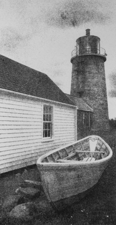 """""""Monhegan Light and Skiff"""" © David Aimone. Approx. 6"""" x 10"""" handcrafted gum oil print on Arches Platine paper. Signed single edition print offered by GALLERY5X7 at $325."""