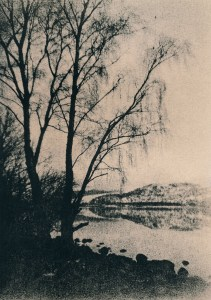 """""""Loch Rannoch. Trees"""" © Iván B. Pallí. """"Trees on the snowy shore of Loch Rannoch, Scotland."""" Approx. 14x20cm hand-printed silver gelatin lith print on Unibrom paper. Signed and numbered original print, edition 1/5, offered at $250."""