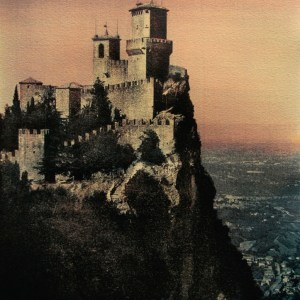 """""""The Fortress Of Guaita On Mount Titano"""" © Anna Melnikova. Republic of San Marino. Italy. Approx. 16x11"""" (41x29cm) handcrafted alternative process photograph (gum bichromate print from a single negative, four natural-pigment color layers on Lana watercolor paper). GALLERY5X7 offers this original, signed print at $750."""