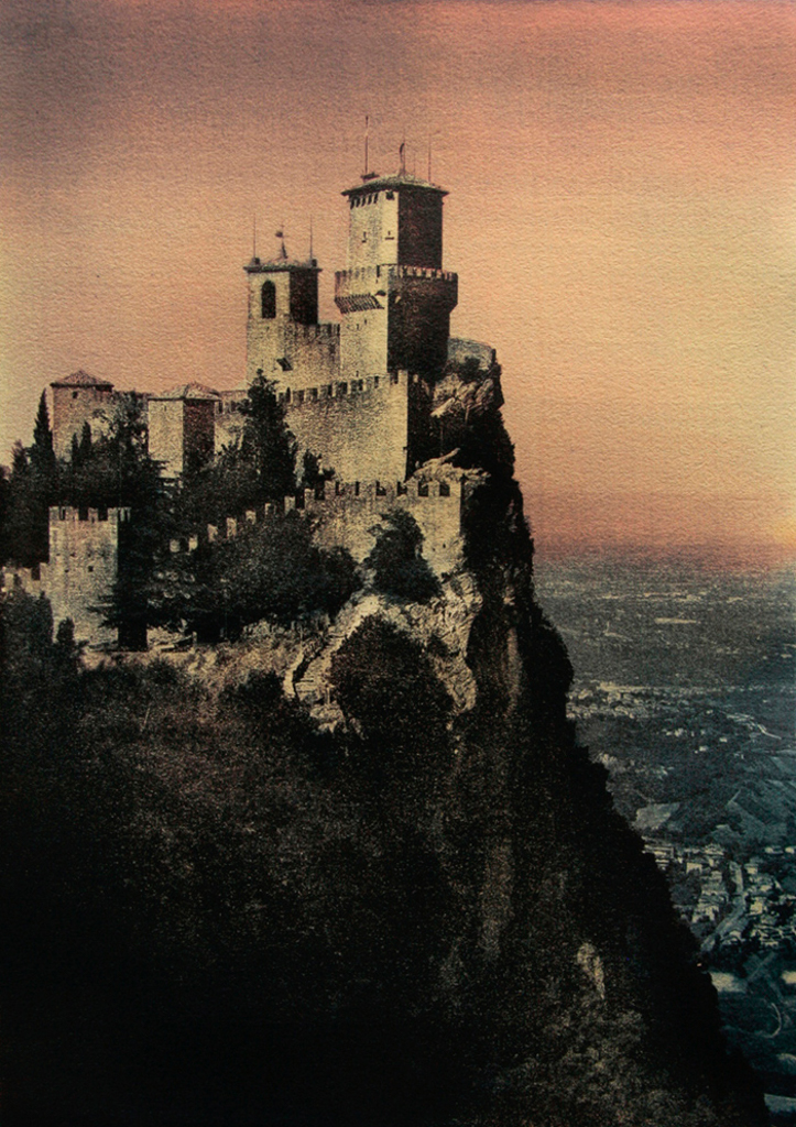 """The Fortress Of Guaita On Mount Titano"" © Ana Melnikova. Republic of San Marino. Italy. Approx. 16x11"" (41x29cm) handcrafted alternative process photograph (gum bichromate print from a single negative, four natural-pigment color layers on Lana watercolor paper). GALLERY5X7 offers this original, signed print at $750."
