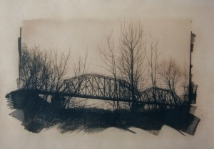 """""""The Last Bridge 2"""" © Anna Melnikova. Approx. 11x15"""" (28x38cm) handcrafted alternative process photograph (original cyanotype print, double toning on Fabriano Artistico paper from a digital negative). Offered by GALLERY5X7 as a single print and tryptich series."""