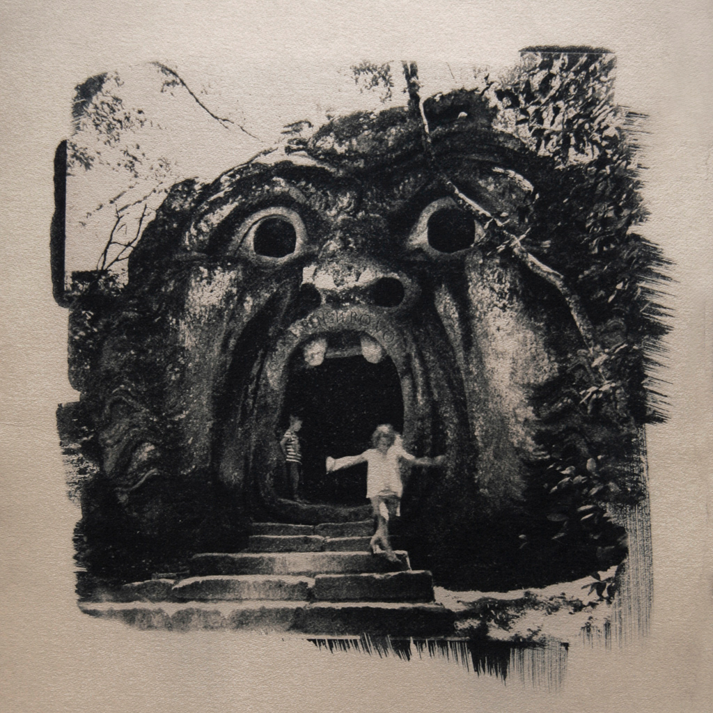 """""""The Sacro Bosco 1"""" © Anna Melnikova. From the series """"The Sacro Bosco"""" Bomarzo, Italy. Approx. 10x10"""" (25x25cm) handcrafted alternative process photograph (original cyanotype print, double toning on Fabriano Artistico paper from a digital negative). GALLERY5X7 offers this original, signed print at $400."""