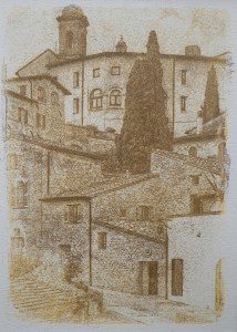 """Assisi"" © Alan Glover. Approx 7x5"" handcrafted gum bichromate print from a single negative using watercolour pigments on Hahnemuhle Platinum Rag paper. GALLERY5X7 offers this original print, signed on the mount (mount size 12x8.25""), at $250."