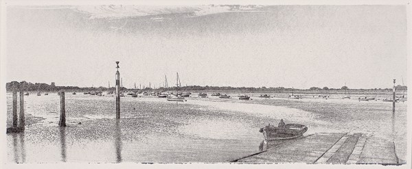 """""""Bosham Harbour At Low Tide"""" © Alan Glover. Approx 13.5x5"""" handcrafted gum bichromate print from a single negative using watercolour pigments on Hahnemuhle Platinum Rag paper. GALLERY5X7 offers this original print, signed on the mount (mount size 17.5x9""""), at $250."""