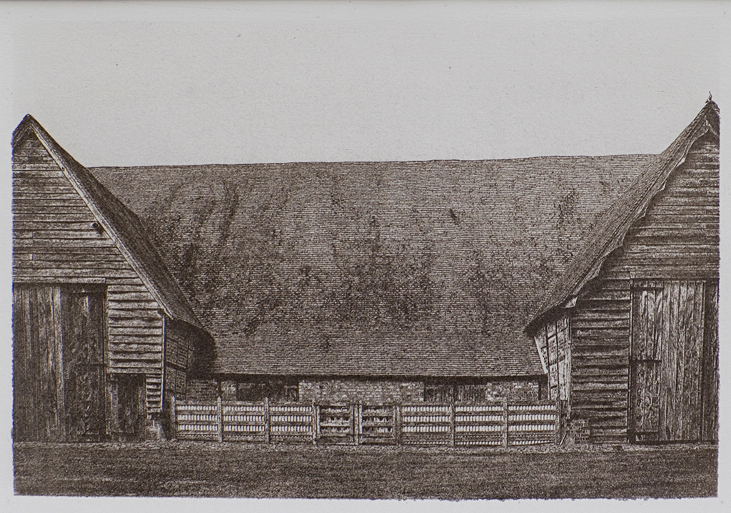 """""""Leigh Court Barn"""" © Alan Glover. Approx 11x7.5"""" handcrafted gum bichromate print from a single negative using watercolour pigments on Hahnemuhle Platinum Rag paper. GALLERY5X7 offers this original print, signed on the mount (mount size 16x12""""), at $250."""