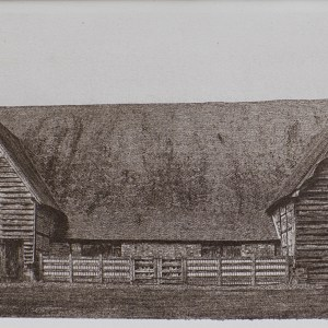 """""""Leigh Court Barn"""" © Alan Glover. Approx 11x7.5"""" handcrafted gum bichromate print from a single negative using watercolour pigments on Hahnemuhle Platinum Rag paper. GALLERY5X7 offers this original print, signed on the mount (mount size 16x12"""")."""