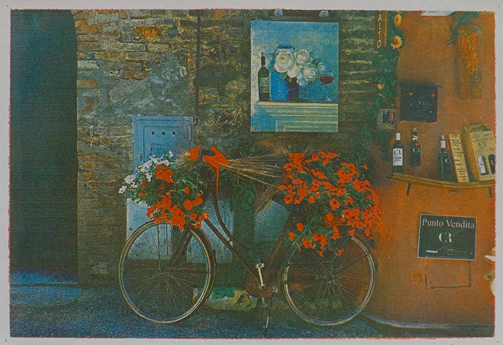 """""""Wine Shop Italy"""" © Alan Glover. Approx 11x7.5"""" handcrafted gum bichromate print from 3 negatives using watercolour pigments on Hahnemuhle Platinum Rag paper. GALLERY5X7 offers this original print, signed on the mount (mount size 16x12""""), at $250."""