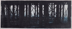 """""""Worthing Pier"""" © Alan Glover. Approx 13.5x5"""" handcrafted gum bichromate print from 2 negatives using watercolour pigments on Hahnemuhle Platinum Rag paper. GALLERY5X7 offers this original print, signed on the mount (mount size 17.5x9""""), at $250."""