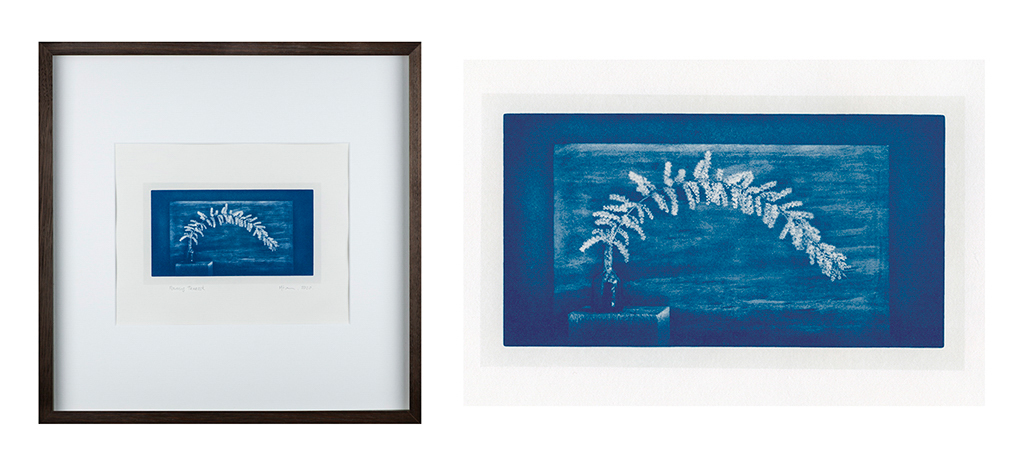 """""""Flowering Tamarisk 3"""" © Mat Hughes. Approx. 4.5x7.9"""" (11.5x20cm) handcrafted cyanotype still-life study from scanned large format 4x5 negative. Printed on watercolour paper and bonded on 16x16"""" (40.5x40.5cm) Forex foamboard ready for framing. Edition of 4 unique signed prints. Offered by GALLERY5X7 at $250."""