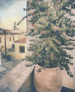"""Bougainvillea"" © Alex Mavromaras. Overlooking an old Mosque in the island of Crete. Approx. 6.5x8"" (17x20cm) handcrafted alternative process photograph (toned cyanotype on vellum, etched and painted over with drawing and watercolor pencils). GALLERY5X7 offers this signed, original print at $250."