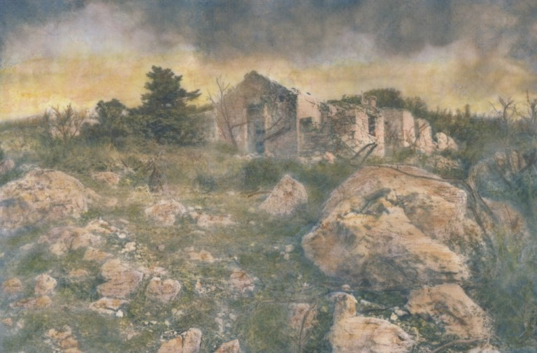 """""""Mont Parnes"""" © Alex Mavromaras. The ruins of an abandoned cottage on the mountain top. Approx. 9.5x6"""" (24x15cm) handcrafted alternative process photograph (toned cyanotype on vellum, etched and painted over with drawing and watercolor pencils). GALLERY5X7 offers this signed, original print at $250."""