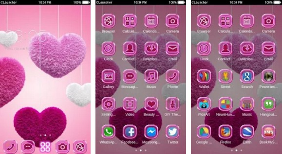 c launcher themes Fluffy Heart Pink Love Theme