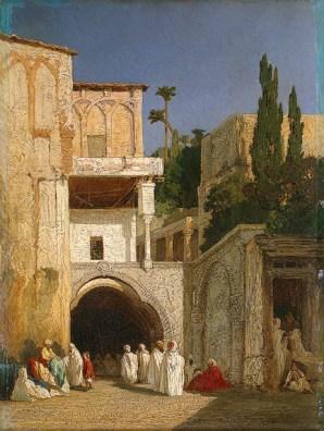 Descamps_Before_a_Mosque_(Cairo)_c1868