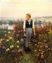 Knight_Daniel_Ridgway_Girl_with_a_Basket_in_a_Garden