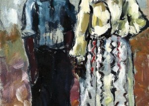 Luis Meque, Self Portrait with Gwen, Mixed Media on Hessian, 126 x 184 cm