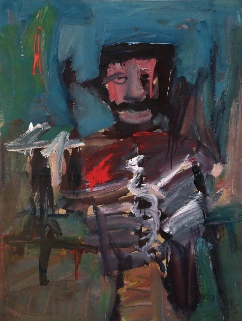 Luis Meque, Drinking Man, 1995, Mixed Media on Paper, 108 x 82 cm