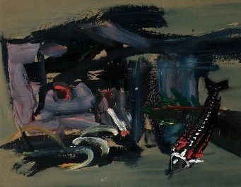 Luis Meque, Fish Market Mozambique, 1996, Mixed Media on Paper, 105 x 103 cm