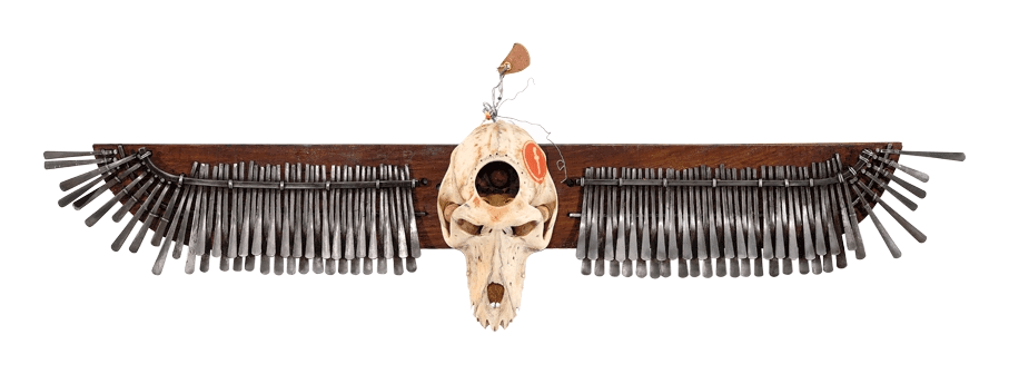 Masimba Hwati, Trepanation, 2014, Baboon Skull, Mbira, Wood, Leather, Glass Beads, 80 x 25 cms