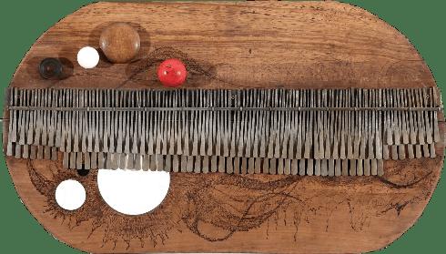 Prototype II, 2014 Mbira, wood, Bone, 78 x 45 cms