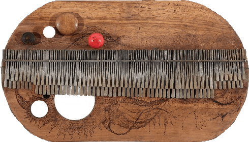 Prototype II, 2014 Mbira, wood, Bone, 78 x 45 cms