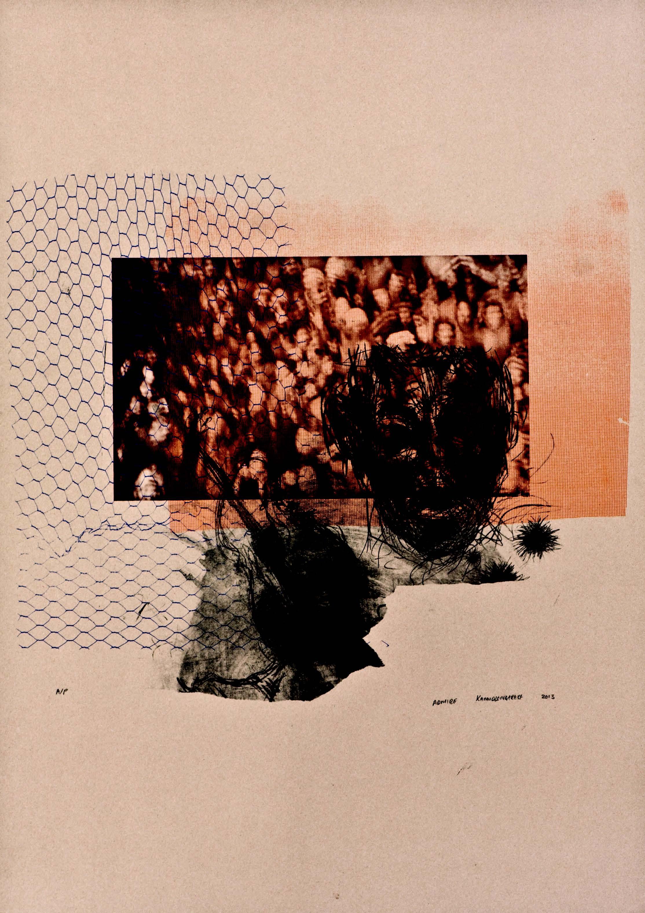 Admire Kamudzengerere, Performance, 2013, Screenprint 90 x 64cms