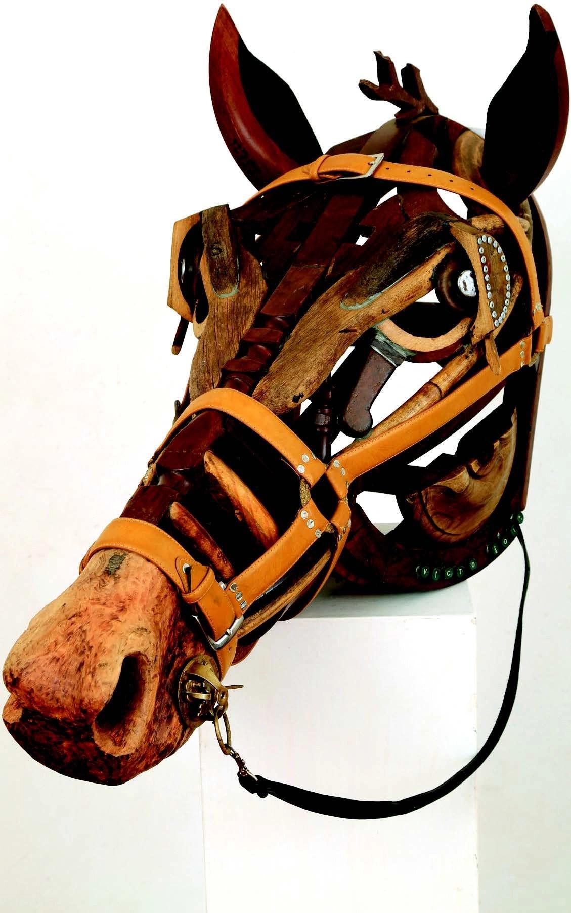 Victor Nyakauru, Rare Mare, 2014, Wood and Leather, 102 x 44 x 62 cm