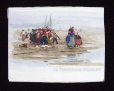 Dutchwoman and Children round Fisherman on a Beach