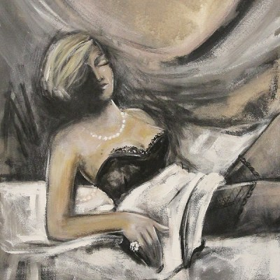 Leon De Klerk woman with pearls and lingerie on bed