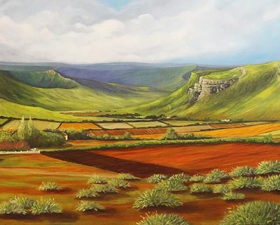 Barbara Becker Landscape with green mountains