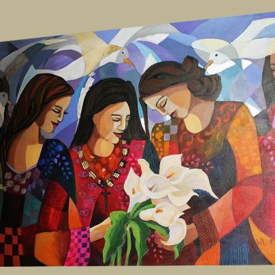 Wil Eaton painting three woman with flowers