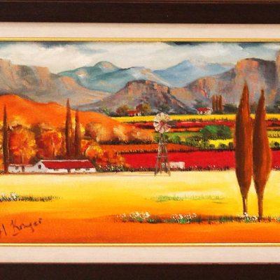 Helena Kruger framed farm scene