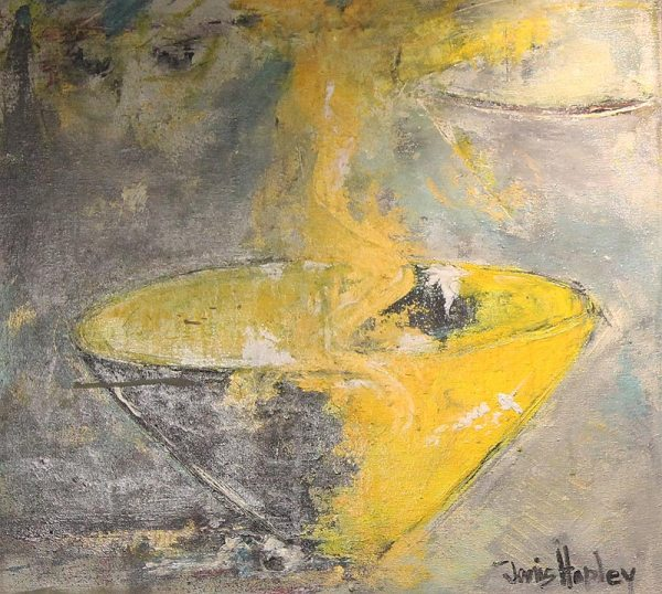 Janis Hopley yellow wineglass abstract