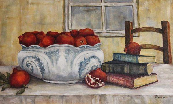 Kareni Bester fruit bowl on table with books scene