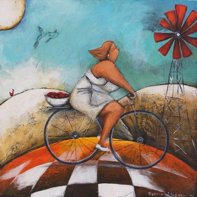Painting of a woman riding a bicycle, fruit on the back and in windmill in the background