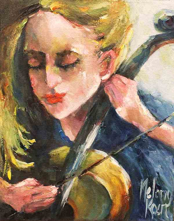 painting of girl playing a violin