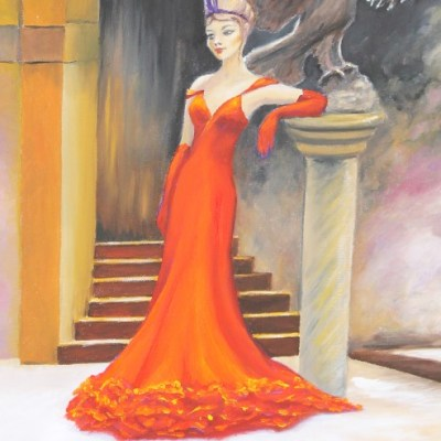 painting of a woman standing in front of staircase, wearing an orange dress