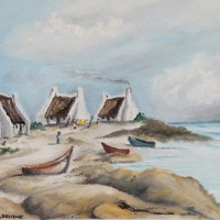 painting of three fishermen's houses next to the ocean