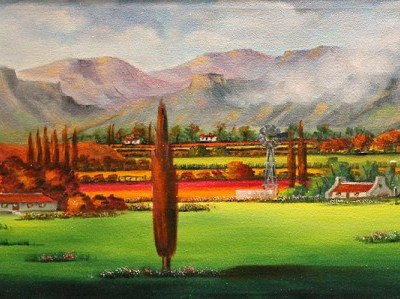 landscape painting with mountains in the background