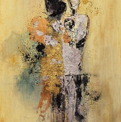 abstract painting of two human figures
