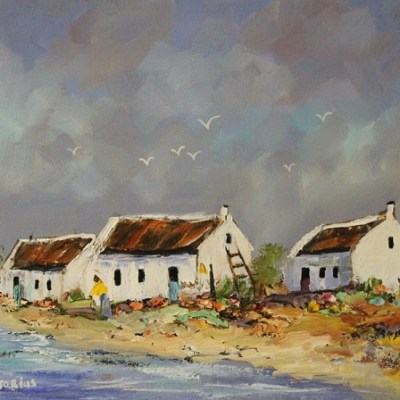 painting of three fishermen's houses next to the sea, with seagulls in die background