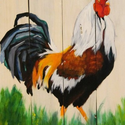 painting of a rooster, painted on wood